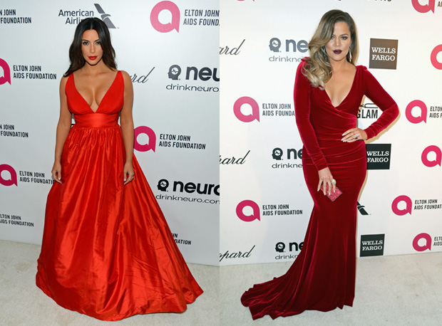 Kim and Khloe Kardashian Sizzle in Red at Oscar Party — But Who's Hotter?