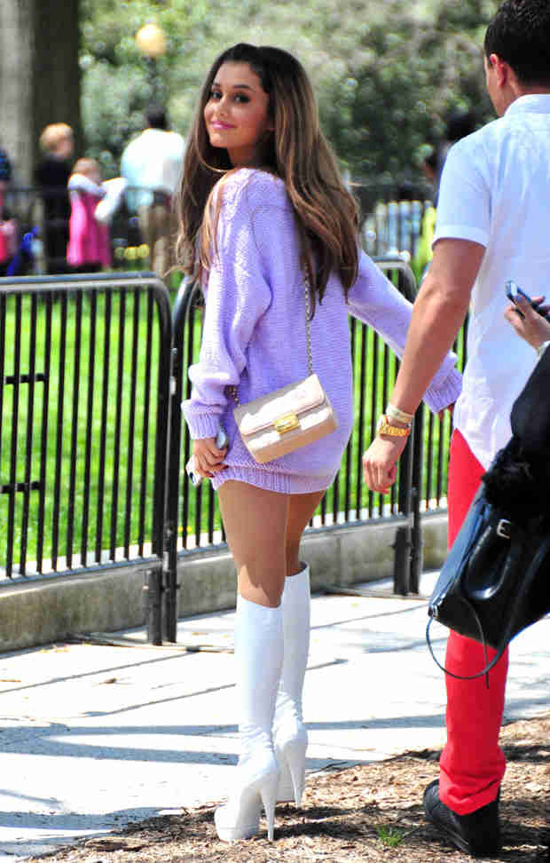 Ariana Grande Goes Pantless in Knee-High Boots For White House Easter Egg Roll