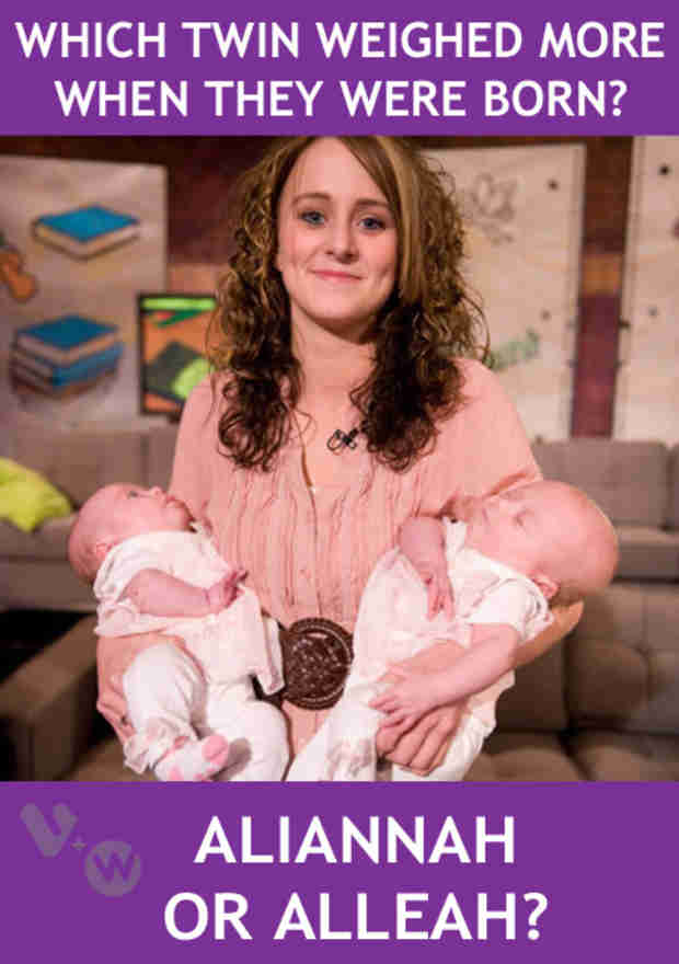 Which One of Leah Messer's Twins Weighed More at Birth — Aliannah Or Alleah? Answer and Get Rewarded!