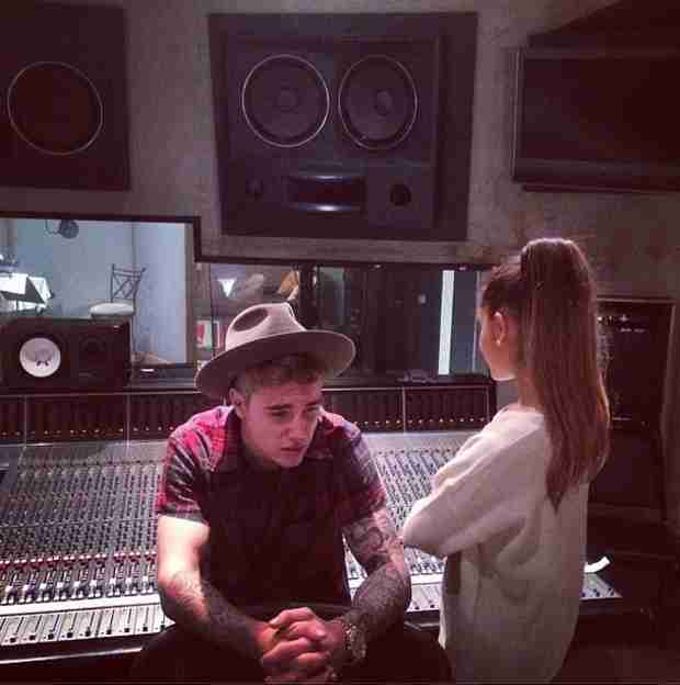 Justin Bieber Teases Ariana Grande Duet! Check Out This Photo of the Pair From the Studio
