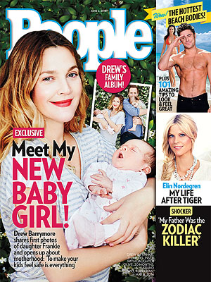 Drew Barrymore Covers People, Shows Off New Baby Frankie! (VIDEO)