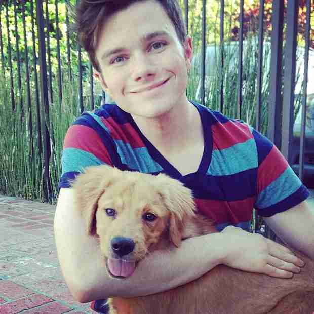 Photo of Chris Colfer & his  Dog Cooper