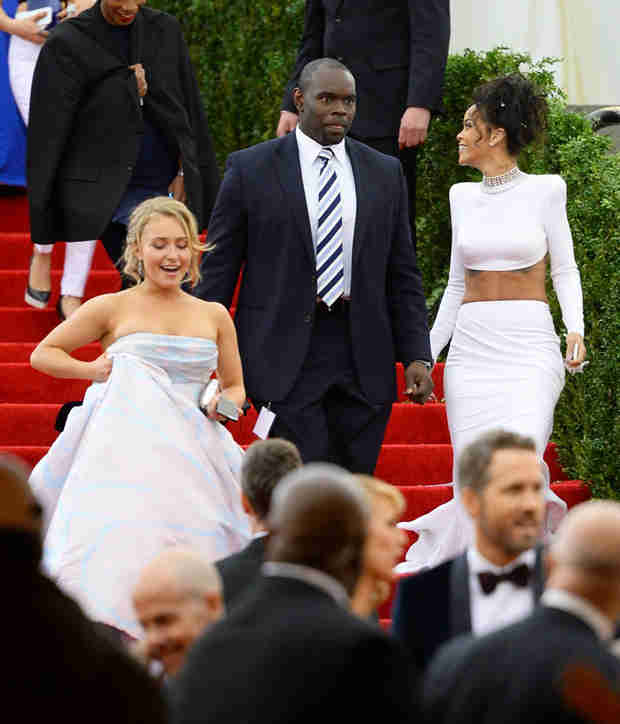 Hayden Panettiere Trips at the MET Gala While Rihanna Laughs (PHOTOS)