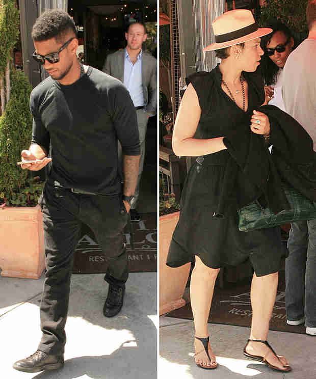 Usher Enjoys a Romantic Lunch Alfresco With Girlfriend Grace Miguel (PHOTOS)