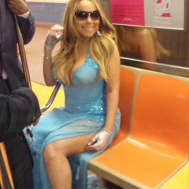 Mariah Carey Rides the Subway in a Couture Gown (VIDEO)