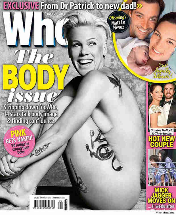 """Pink Goes Nude on Who Magazine Cover: """"I'd Rather Be Strong Than Bony"""" (PHOTO)"""