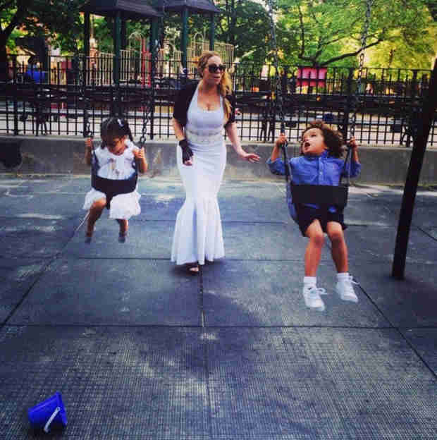 Mariah Carey Hits the Playground With the Twins … While Dressed in a Ball Gown! (PHOTO)