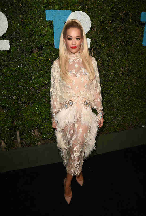 Rita Ora Overexposed? See the Skin-Baring Feathered Dress! (PHOTO)