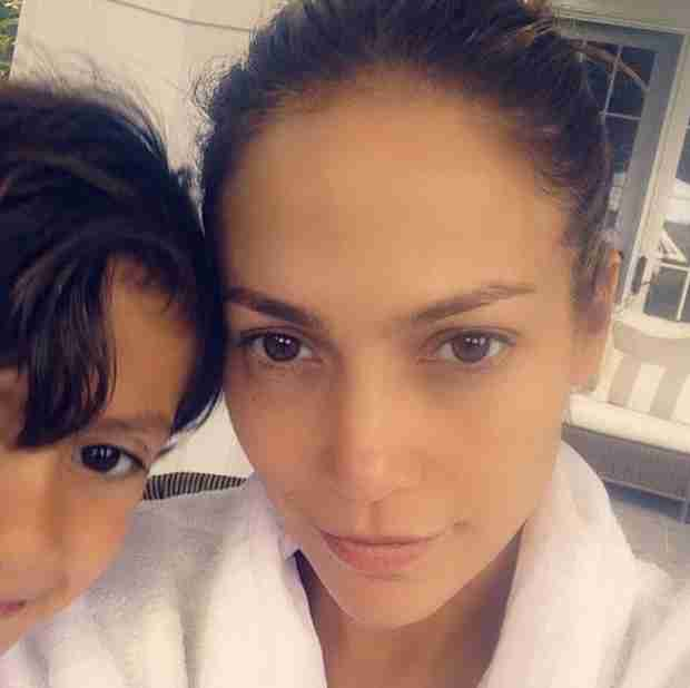 Makeup-Free Jennifer Lopez Photobombed by Son Max — He's So Big! (VIDEO)