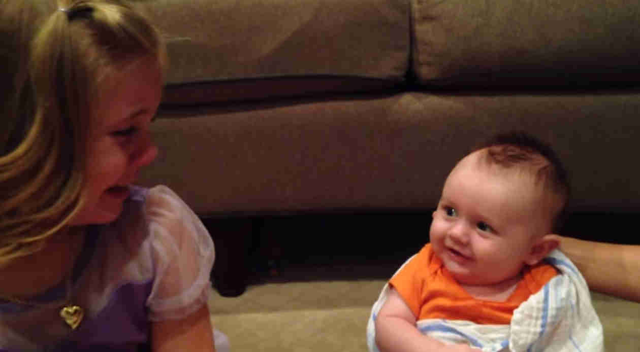 Little Girl Cries Because She Doesn't Want Her Baby Brother to Grow Up (VIDEO)