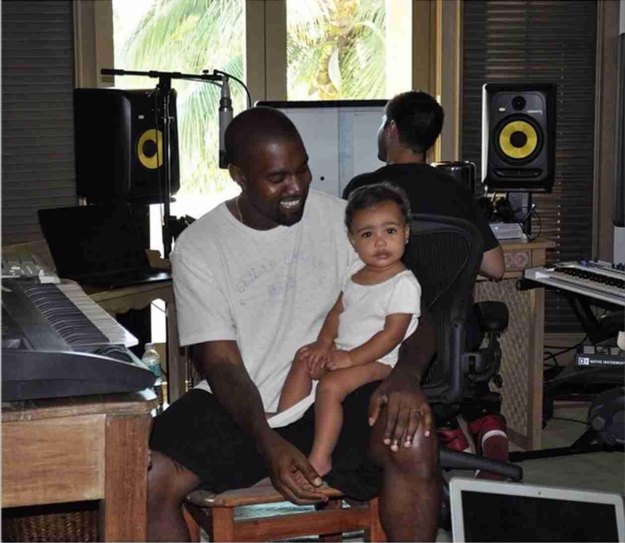 Kim Kardashian Posts Sweet Photo of North and Kanye West in the Studio (VIDEO)