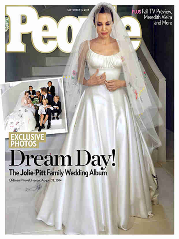 Angelina Jolie Covers People in Her Wedding Dress — See Her Unique Veil Here! (VIDEO)