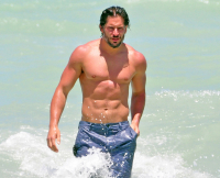 Joe Manganiello swimming in Miami Beach