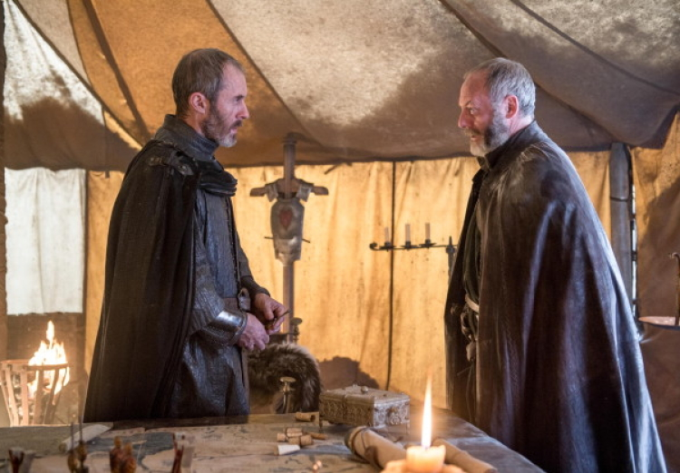 Stannis and Davos on Game of Thrones Season 5, Episode 7