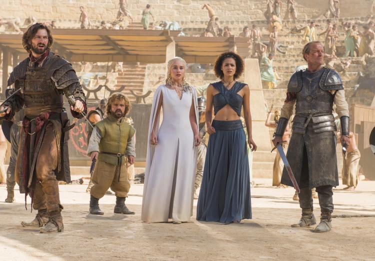 Dany, Daario, Tyrion, Missandei, and Jorah on Game of Thrones Season 5, Episode 9