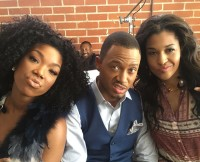 Brandy, Terrence Jenkins, and Kali Hawk on Set of The Perfect Match