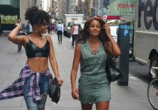 Demetria McKinney and Claudia Jordan After a Meeting in NYC on July 21, 2015