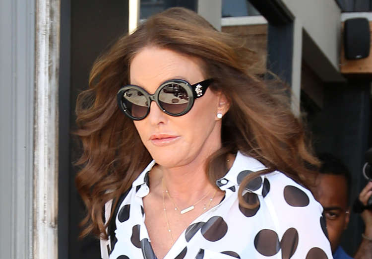 Caitlyn Jenner leaving The Churchill pub after filming a date scene with Kandis Kane