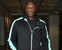 Lamar Odom lands at LAX Airport