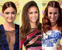 Lucy Hale, Nina Dobrev, and Lea Michele at the 2015 Teen Choice Awards