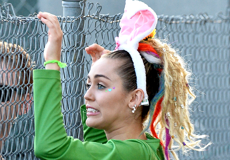 Miley Cyrus Wears Bunny Ears at Jimmy Kimmell Live