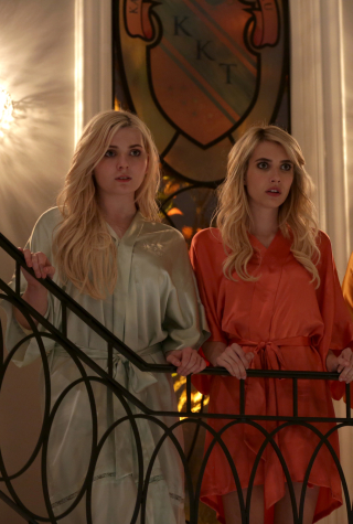 """SCREAM QUEENS: Pictured L-R: Abigail Breslin as Chanel #5, Emma Roberts as Chanel Oberlin, Billie Lourd as Chanel #3 and Jeanna Han as Sam in the """"Chainsaw"""" episode of SCREAM QUEENS airing Tuesday, Sept. 29 (9:00-10:00 PM ET/PT) on FOX. ©2015 Fox Broadcasting Co. Cr: Patti Perret/FOX."""
