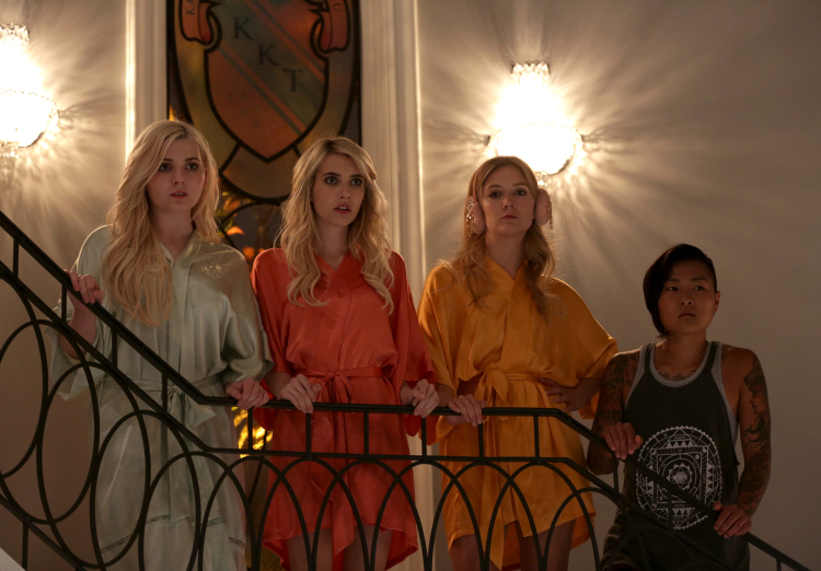 "SCREAM QUEENS: Pictured L-R: Abigail Breslin as Chanel #5, Emma Roberts as Chanel Oberlin, Billie Lourd as Chanel #3 and Jeanna Han as Sam in the ""Chainsaw"" episode of SCREAM QUEENS airing Tuesday, Sept. 29 (9:00-10:00 PM ET/PT) on FOX. ©2015 Fox Broadcasting Co. Cr: Patti Perret/FOX."