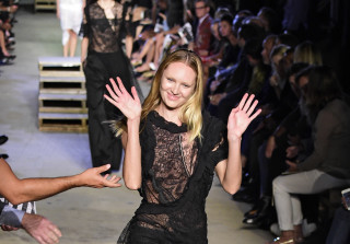 Model Candice Swanepoel Takes a Tumble During New York Fashion Week