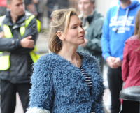 Renée Zellweger picturd filming scenes in Sainsbury's for the new Bridget Jones's movie