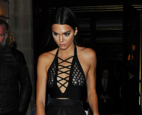Kendall Jenner, Gigi Hadid and Joan Smalls seen leaving dinner with Oliver Rousteing in Paris.