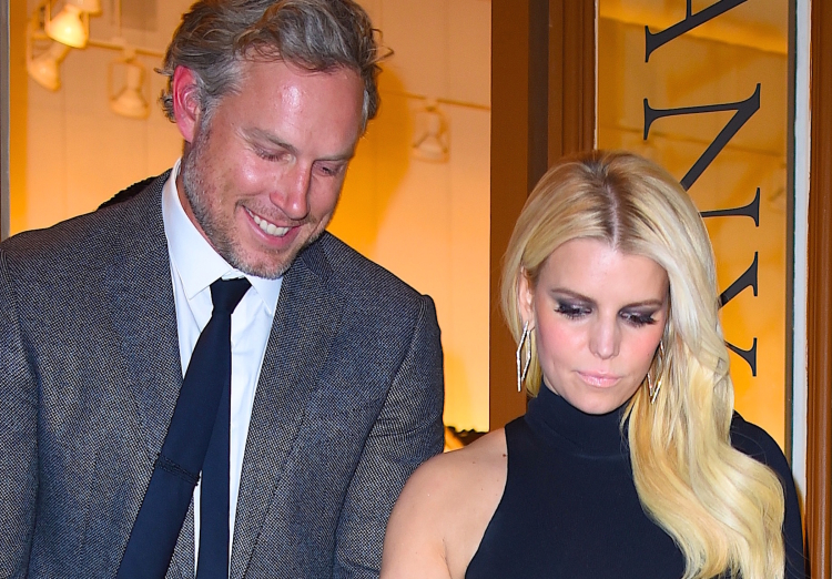 Jessica Simpson and Eric Johnson attend a Tom Everhart gallery the dinner at Vic's restaurant in SoHo