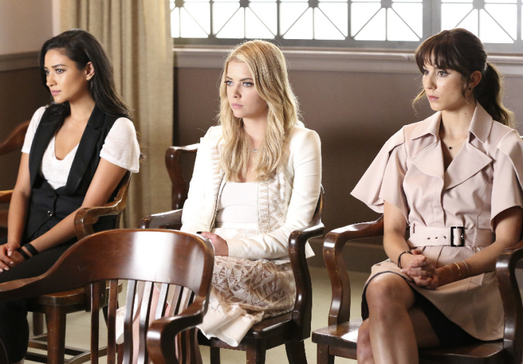 Emily, Hanna, and Spencer on Pretty Little Liars