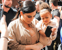 Kim Kardashian and North West seen arriving at Kanye West Yeezy Season 2 during Spring 2016 New York Fashion Week