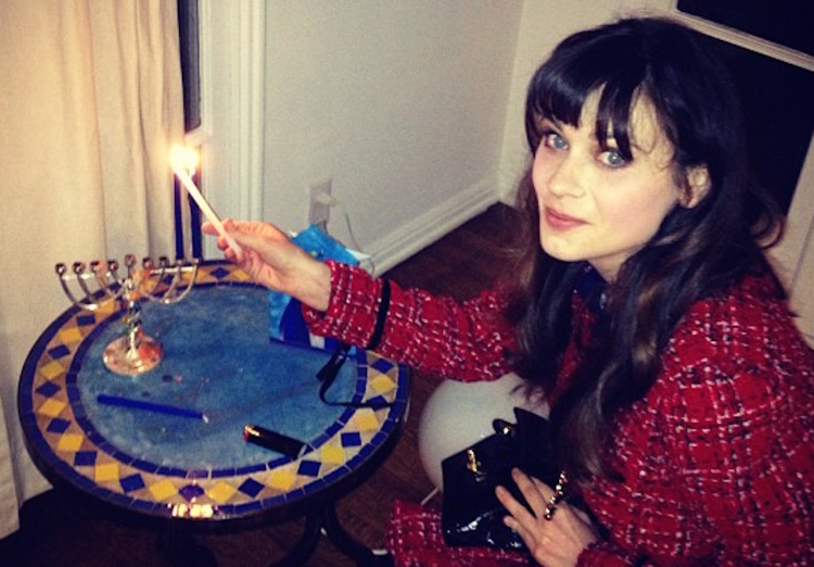 Celebrities celebrating Hanukkah, Zooey Deschanel