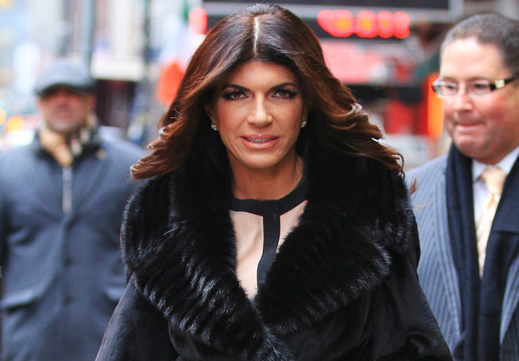 Teresa Giudice departs GMA studios after giving an interview there in NYC