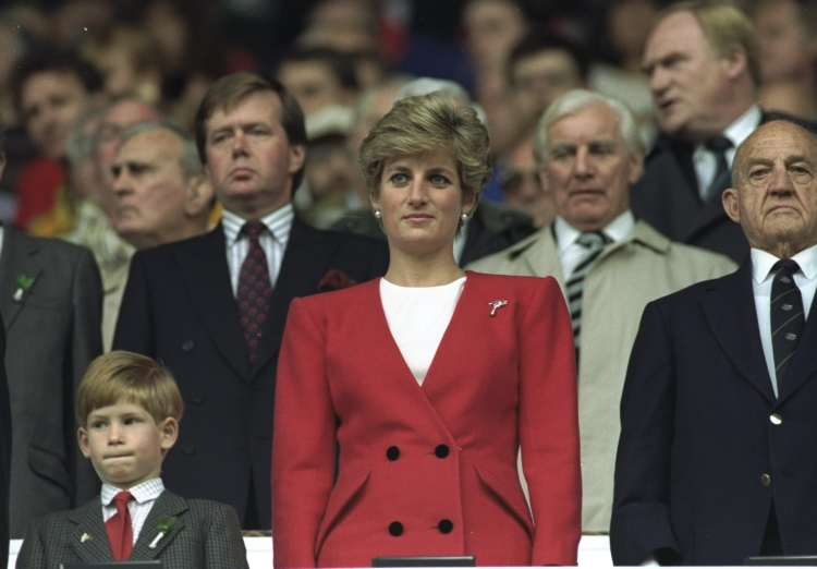HRH Princess Diana and HRH Prince Harry stand for the National Anthem at the Wales V Australia match