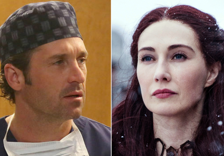 Game of Thrones, Melisandre, Grey's Anatomy, Derek