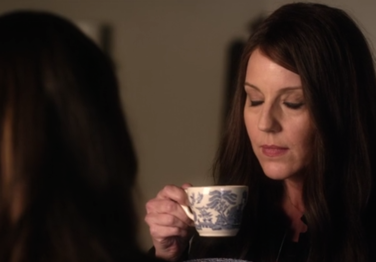 Mary Drank sips tea