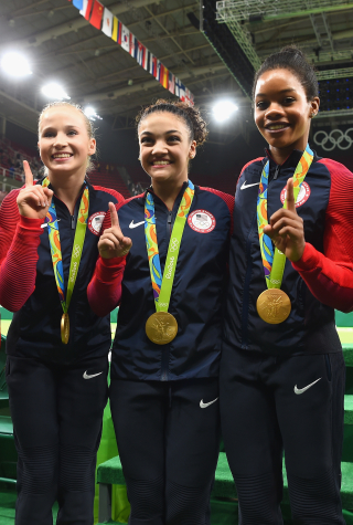 Alexandra Raisman, Madison Kocian, Lauren Hernandez, Gabrielle Douglas and Simone Biles Pose With Their Gold Medals at the 2016 Summer Olympics
